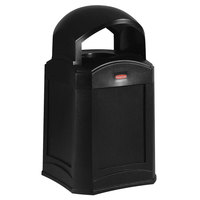 Rubbermaid FG9W0100BLA Landmark Series Gas Station / Store Front Black Standard Dome Top Container 35 Gallon
