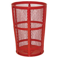 Rubbermaid FGSBR52RD Red Round Steel Street Basket 45 Gallon