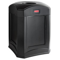 Rubbermaid FG9W0200BLA Landmark Series Gas Station / Store Front Black Funnel Top Frame With Panel Frame and FG395800 Rigid Plastic Liner 35 Gallon