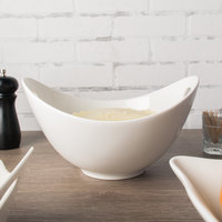 10 Strawberry Street WTR-11CUTOUTBWL Whittier 1.5 Qt. White Porcelain Curve Bowl with Cut Outs   - 4/Case