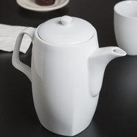 10 Strawberry Street AUR-14 Aurora 1.5 Qt. Square White Porcelain Teapot   - 8/Case