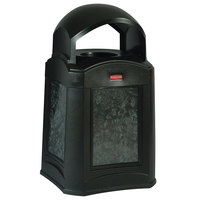 Rubbermaid FG9W0300BLA Landmark Series Gas Station / Store Front Black Dome Top Frame With Panel Frame and FG395800 Rigid Plastic Liner 35 Gallon