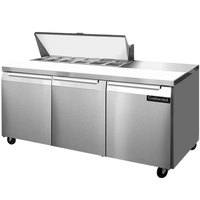 Continental Refrigerator SW72-12 72 inch 3 Door Refrigerated Sandwich Prep Table