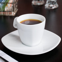 10 Strawberry Street AUR-428 Aurora Square 4 oz. White Porcelain Demi Cup / Saucer - 24/Case
