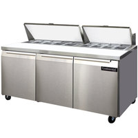 Continental Refrigerator SW72-18 72 inch 3 Door Refrigerated Sandwich Prep Table