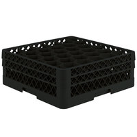 Vollrath TR12HA Traex® Rack Max Full-Size Black 30-Compartment 6 3/8 inch Glass Rack with Open Rack Extender On Top