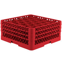 Vollrath TR12HHH Traex® Rack Max Full-Size Red 30-Compartment 7 7/8 inch Glass Rack