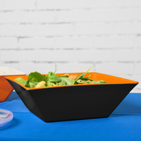 GET ML-248-OR/BK Brasilia 5.7 Qt. Orange and Black Square Melamine Bowl - 3/Case