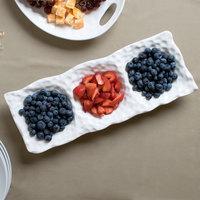 10 Strawberry Street DIM-3PKT Dimple 16 inch White 3 Pocket Porcelain Tray   - 12/Case