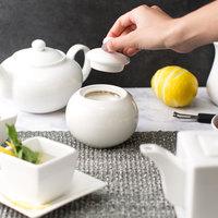 10 Strawberry Street WTR-18 Whittier 13 oz. White Porcelain Covered Sugar Bowl - 6/Case
