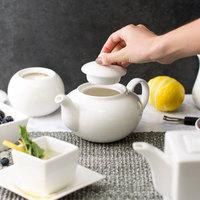 10 Strawberry Street WTR-8TEAPOT Whittier 20 oz. Round White Porcelain Teapot   - 24/Case