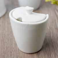 10 Strawberry Street WTR-3SUGRBWL Whittier 8 oz. White Porcelain Sugar Bowl with Lid - 48/Case