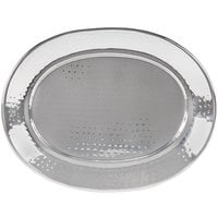 American Metalcraft HMOST1520 20 inch Oval Hammered Stainless Steel Serving Tray