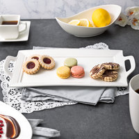 10 Strawberry Street WTR-15EMBHNDLPLTR Whittier 15 inch x 7 inch White Embossed Rectangular Porcelain Handled Platter - 18/Case