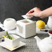 10 Strawberry Street WTR-14 Whittier 20 oz. Square White Porcelain Teapot   - 18/Case