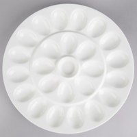 10 Strawberry Street WTR-EGGPLTR Whittier 13 inch White Porcelain Egg Platter - 8/Case
