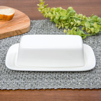 10 Strawberry Street WTR-34 Whittier 7 3/4 inch x 4 1/8 inch White Porcelain Covered Butter Dish - 12/Case