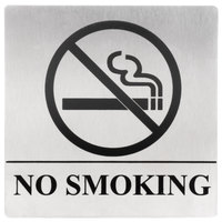 Tablecraft B14 5 inch x 5 inch Stainless Steel No Smoking Sign