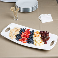 10 Strawberry Street HLD-19-9RECHNDPLTR Highland 19 inch x 9 inch White Coupe Porcelain Platter with Cut Outs - 6/Case