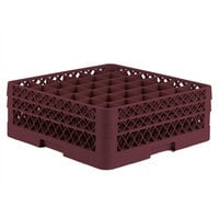 Vollrath TR7CC Traex® Full-Size Burgundy 36-Compartment 6 3/8 inch Glass Rack