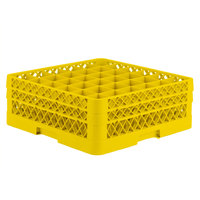 Vollrath TR7CC Traex® Full-Size Yellow 36-Compartment 6 3/8 inch Glass Rack