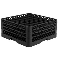 Vollrath TR7CCC Traex® Full-Size Black 36-Compartment 7 7/8 inch Glass Rack