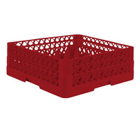 Vollrath TR7CA Traex® Full-Size Red 36-Compartment 6 3/8 inch Glass Rack with Open Rack Extender On Top