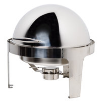 Vollrath T3505 7 Qt. Round Mirror Finish Stainless Steel Roll Top Chafer