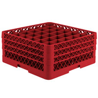 Vollrath TR7CCC Traex® Full-Size Red 36-Compartment 7 7/8 inch Glass Rack