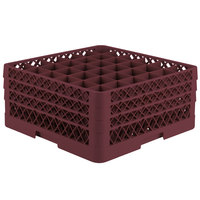 Vollrath TR7CCC Traex® Full-Size Burgundy 36-Compartment 7 7/8 inch Glass Rack