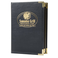 Menu Solutions RS170A Royal Select Series 5 1/2 inch x 8 1/2 inch Customizable Leather-Like 10 View Booklet Menu Cover