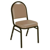 National Public Seating 9201-M Dome Style Stack Chair with 2 inch Padded Seat, Mocha Metal Frame, and French Beige Vinyl Upholstery