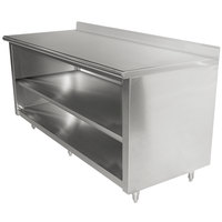 Advance Tabco EK-SS-309M 30 inch x 108 inch 14 Gauge Open Front Cabinet Base Work Table with Fixed Midshelf and 5 inch Backsplash