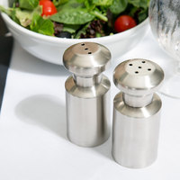 American Metalcraft SPM4 3 oz. Satin Finish Stainless Steel Salt and Pepper Shaker Set