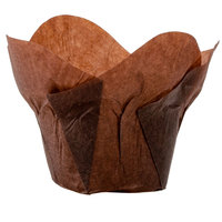 Hoffmaster 1 1/4 inch x 2 1/4 inch Chocolate Brown Lotus Baking Cups - 250/Pack