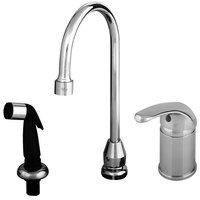 T&S B-2743 Single Lever Faucet with Remote On/Off Control Base, Swivel Gooseneck Assembly, Sidespray, and Flexible Stainless Steel Water Connectors ADA Compliant