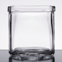 American Metalcraft GJ8 8 oz. Square Glass Condiment Jar