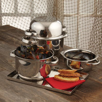 American Metalcraft SSMS9 2 Qt. Stainless Steel Mussel Serving Bowl with Lid