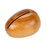 American Metalcraft OOCH 1 1/2 inch x 1 1/4 inch Egg-Shaped Olive Wood Card Holder