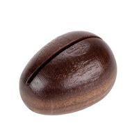American Metalcraft OWCH 1 1/2 inch x 1 1/4 inch Egg-Shaped Walnut Wood Card Holder