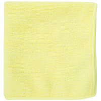 12 inch x 12 inch Yellow Microfiber Cleaning Cloth - 12/Pack