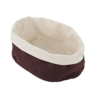 American Metalcraft TV6DC 7 7/8 inch Round Cream and Brown Canvas Bread Basket
