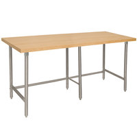 Advance Tabco TH2S-308 Wood Top Work Table with Stainless Steel Base - 30 inch x 96 inch