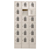 Winholt WL-618/15 Triple Column Eighteen Door Locker with Perforated Doors - 36 inch x 15 inch