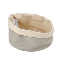 American Metalcraft TV3 6 3/4 inch Round Cream and Grey Canvas Bread Basket