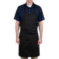 Chef Revival Black Poly-Cotton Customizable Bib Apron - 34 inchL x 28 inchW
