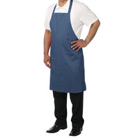 Chef Revival 601NP-NV Customizable Navy Blue Bib Apron - 34 inch x 28 inch