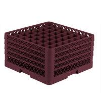 Vollrath TR9EEEE Traex® Full-Size Burgundy 49-Compartment 9 7/16 inch Glass Rack