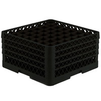 Vollrath TR9EEEEA Traex Full-Size Black 49-Compartment 11 inch Glass Rack with Open Rack Extender On Top