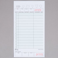 Choice 2 Part Green and White Carbonless Guest Check with Beverage Lines and Bottom Guest Receipt - 2000/Case